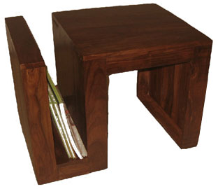 wooden magazine rack table